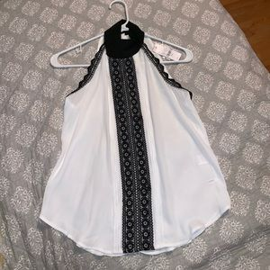 New York & Company White and Black Lace Tank Top
